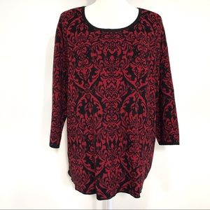 Dana Buchman red & black pullover sweater NWT